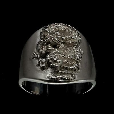Shining Sterling Silver Mens Ring Medieval Knight Dragon Slayer Any Size