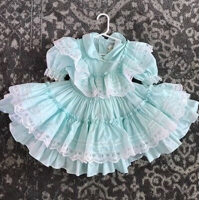 Vintage Flocked Girl's Full Circle Mint Twirl Toddler Part Lace Ruffle Dress 4t