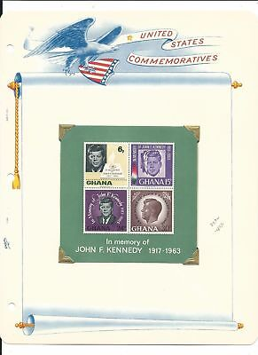 Ghana Collection, John F. Kennedy on 3 White Ace Pages, #236-239a Mint NH