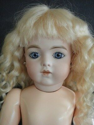 """Antique French Bisque BRU Reproduction doll. 14"""". Blue eyes by G. BRAVOT"""