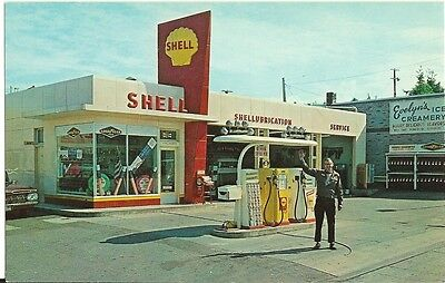 5x7 SHELL GAS STATION SHELLUBE ATTENDANT PUMPS CANS GOODYEAR TIRES pic