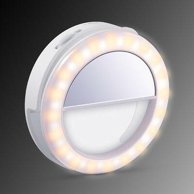 Universal 40 LED Selfie Ring Light Clip Brightness Control Warm Cold White TK302