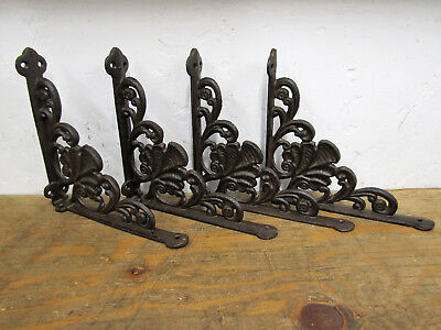 "Lot 4 Antique-Style Cast Iron RUSTIC Shell 7.5"" x 8"" Shelf BRACKETS FBG123-3"
