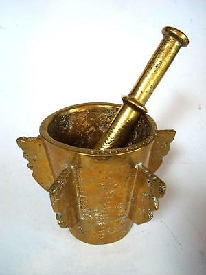 Antique Decorative Solid Brass Apothecary Mortar w/ Wings and Pestle 7257 grams