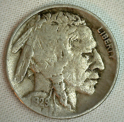 1929 D Buffalo Nickel Denver Coin Indian Head Five Cents US Type Very Fine VF