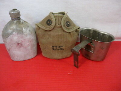WWII US Army M1910 Dismounted Canteen, Cup & Early Khaki Cover Dated 1943 & 1945