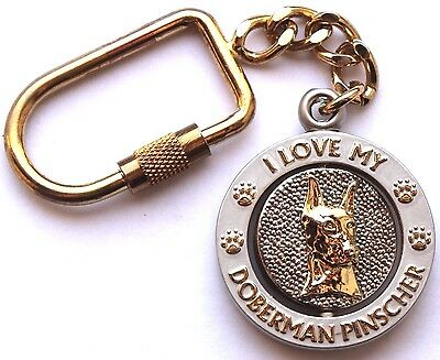 NEW I Love My DOBERMAN PINSCHER Key Chain Ring or Purse Charm Collectible