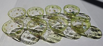 Glass Antique Lot 8 Hand Painted Enameled Floral Gilt Lime Green Clear Bowls
