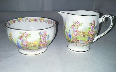 Bell Rose Cottage Fine Bone China Footed Mini Sugar Bowl Creamer England Vintage