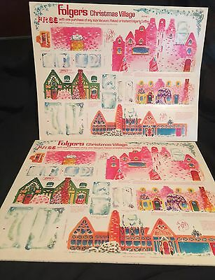 VINTAGE FOLGERS COFFEE Christmas Village UNPUNCHED 2 SHEETS Scene 1