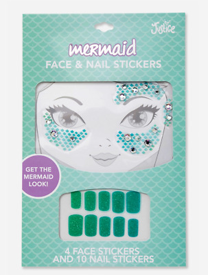 Justice Girl's MERMAID Face & Nails Sticker NEW