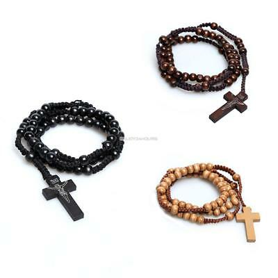 Wooden Beads Rosary Black Necklace Mens Womens with Cross Pendant EH