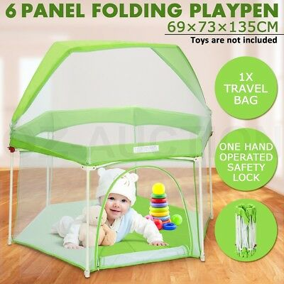 Pop-up Puppy Playpen Kids Baby Play Pen Foldable 6-Panel Metal Frame With Awning