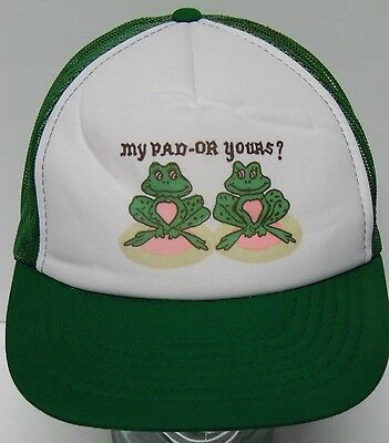 Vtg 1980s MY PAD OR YOURS? Frogs ADULT SEX HUMOR Advertising Snapback Hat Cap