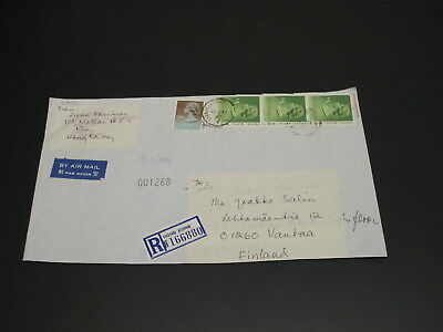 Hong Kong 1992 registered Airmail cover to Finland *29922