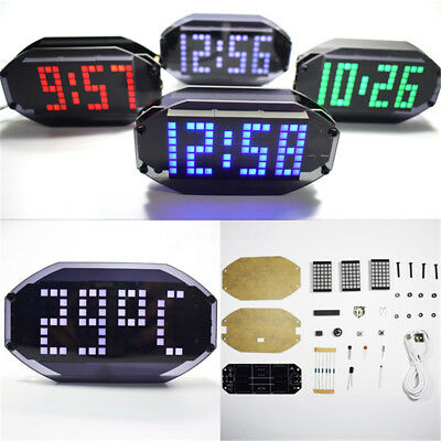 DIY Kits Dot Matrix LED Electronic Alarm Clock Digital Dispaly Time Temperature