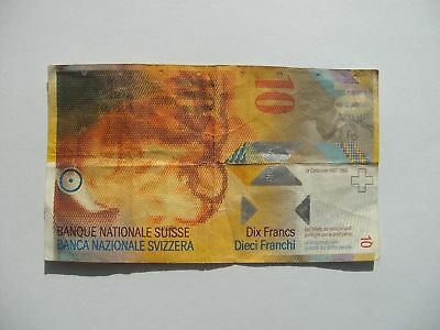 Banknote of Switzerland almost crisp uncirculated condition Swiss 10 Francs note
