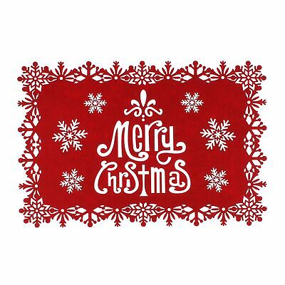 Merry Christmas Red Felt Placemats with Snowflake Pattern Pack of 4