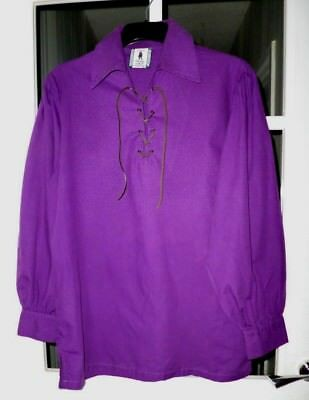 """Mens Ghillie Shirt Size Small 40"""" Chest Heritage Of Scotland Purple"""