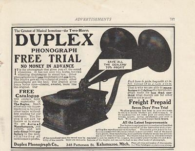 1907 Duplex Phonograph Kalamazoo MI Ad: Great Musical Invention Two-Horn Duplex