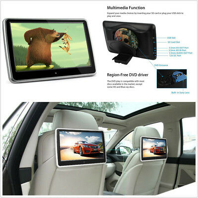 "10.1"" Big Screen Touch 1024*600 HD Vehicle Headrest Monitor DVD Player FM USB IR"