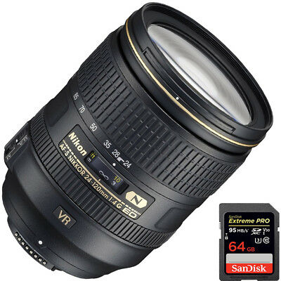 Nikon 2193 AF-S NIKKOR 24-120mm f/4G ED VR Lens for Nikon DSLR + 64GB SDXC Kit