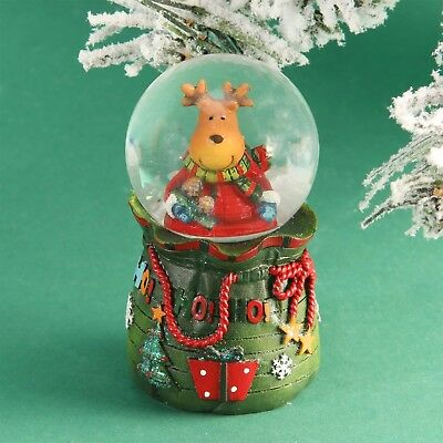 Hand Painted Christmas Snow Globe Reindeer In Santa Sack