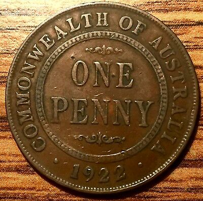 1922 M Australia One Penny King George V Coin Without Dots