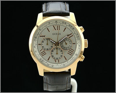 New Men's GUESS U0380G4 Horizon Rose Gold Brown Croc Leather Chronograph Watch