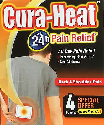 Cura Heat All day Pain Relief for Back & Shoulder Pain 3 Patches Heat Action