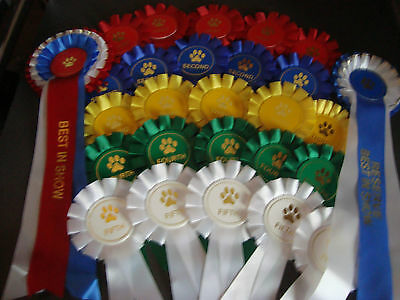 wags2whiskers_2 Dog Show Complete rosette set (10 sets 1st to 3rd BIS RBIS)