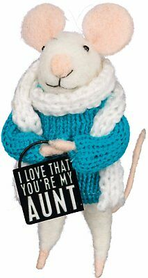 Mouse w Box Sign I Love That You're My Aunt 4.5 inches Primitives by Kathy