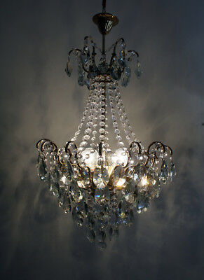 Antique Spider Style Cast Brass & Crystals Chandelier from 1940's