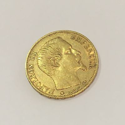 1860-BB French 20 Francs Antique Gold Coin .900 Fine Napoleon III