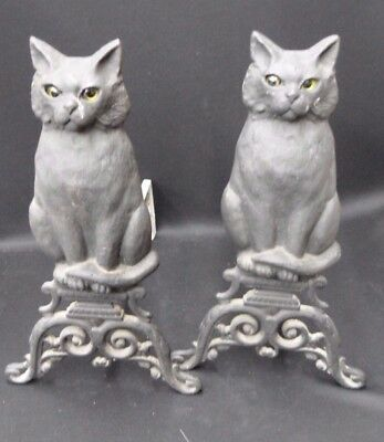 Wonderful Pair Of Old Cat Andirons The Eyes Are Amazing Signed By Maker