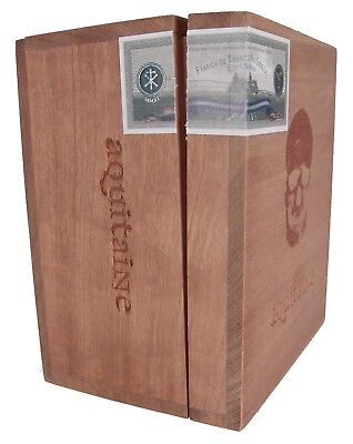 """Empty Very Solid Wood Cigar Box Aquitaine Manoible 6 x 7 x 4 1/4"""""""