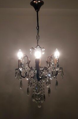 Antique 4 Arms Brass & Crystals small Chandelier from 1950's
