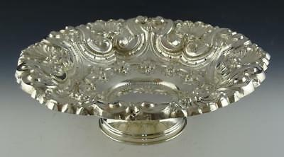 Antique Portuguese .833 Solid Silver Repousse Rococo Shell & Scroll Fronds Bowl