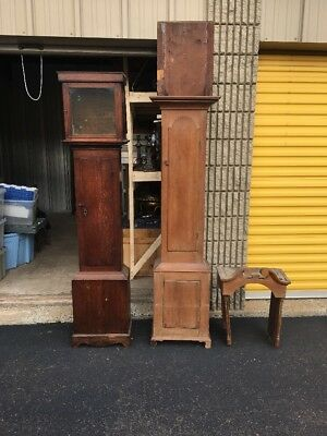 Two Antique Tall Clock Cases 1 Pennsylvania 1 English