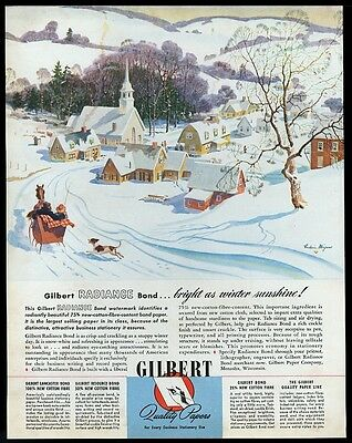 1945 Fred Mizen New England small town winter art Gilbert Paper vintage print ad