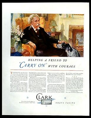 1932 English Setter and bereaved man art Clark coffin grave vault print ad