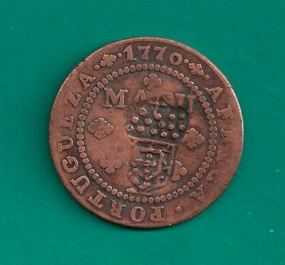 ND-1837 Angola Macuta Countermark on 1770 Host Coin 1/2 Macuta Portugal Colony