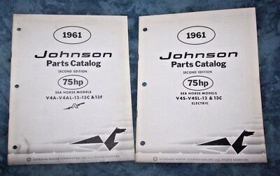 1961 Johnson 75hp Sea Horse Models V4S-V4SL-13 & 13 C Electric & V4A V4AL 13 13C