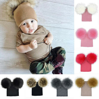 USA Children Kids Baby Warm Winter Wool Knit Beanie Fur Pom Pom Bobble Hat Cap