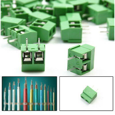 30 Pcs 2 Pole 5mm Straight Pin PCB Mount Screw Terminal Block Connector Newly