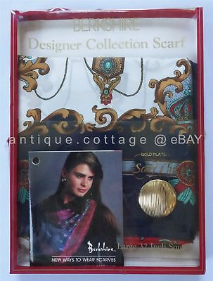 LOT unused BERKSHIRE DESIGNER COLLECTION SCARF italy GOLD PLATED SCARF CLIP box