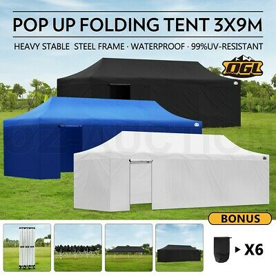OGL 3x9M Pop Up Outdoor Gazebo Folding Tent Market Party Marquee Shade Canopy
