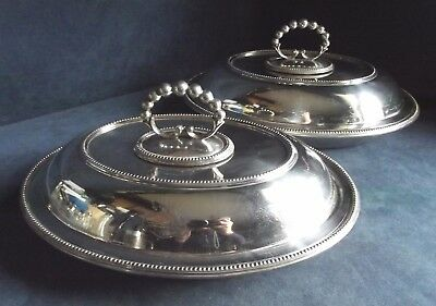 "Superb PAIR 12"" ~ Family CRESTED ~ SILVER Plated ~ Serving DISHES ~ c1890"