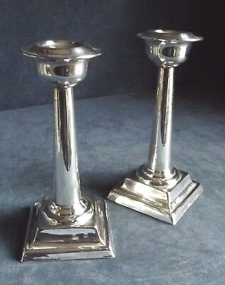 "SUPERB Pair 7"" ~ SILVER Plated ~ GEORGIAN Style CANDLESTICKS ~ c1920"