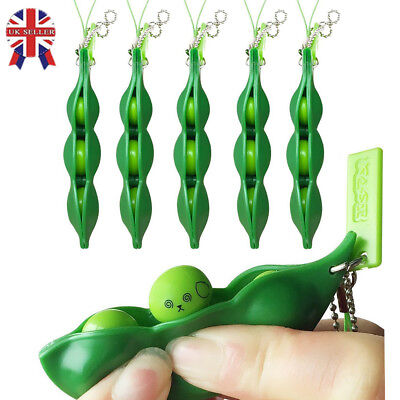 5Pcs Beans Squishy Relief Toy Pendants Anti Stress Ball Squeeze Funny Keychain